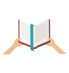 Isolated book and hands design vector image