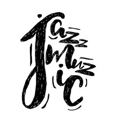 Jazz music lettering composition inscription vector
