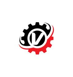 letter v gear logo design template vector image