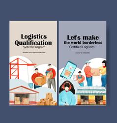 Logistics instagram design template with crane vector