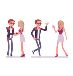 man to woman friendly greeting vector image