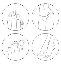Manicure pedicure and bodycare concept Icon set vector