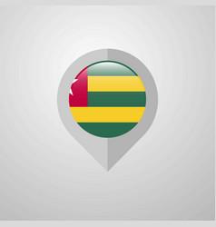 map navigation pointer with togo flag design vector image