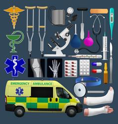 medical equipment set emergensy ambulance tools vector image