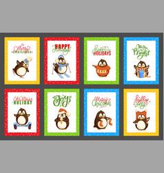 Merry christmas penguins having fun cards vector