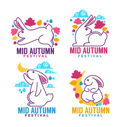 mid autumn festival labels emblems and logo vector image