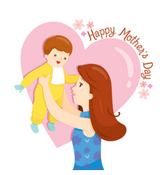 Mother holding her baup with love vector