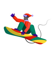 mouse - snowboarder in a sports winter suit makes vector image