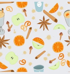 Mulled wine seamless pattern vector