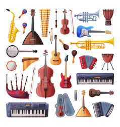 musical instruments set cello violin guitar vector image