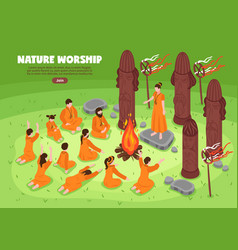 nature worship isometric background vector image