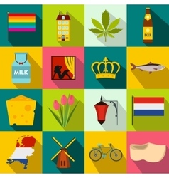 Netherlands icons set flat style vector