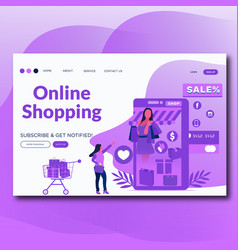 online shopping- landing page vector image
