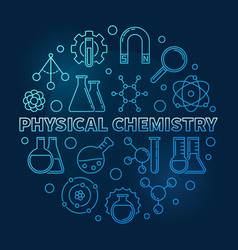 Physical chemistry blue modern line round vector