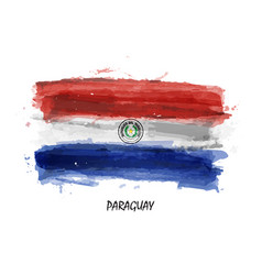 Realistic watercolor painting flag of paraguay vector
