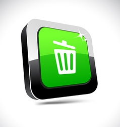 Recycle bin 3d square button vector