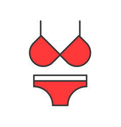 red bikini filled color outline editable stroke vector image