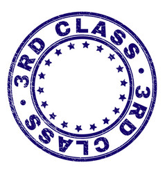 scratched textured 3rd class round stamp seal vector image