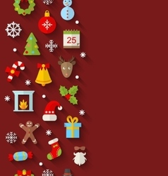 Seamless Pattern with Christmas Flat Icons vector image