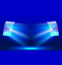 Searchlights in the stadium field illuminations vector