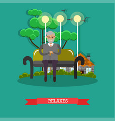 senior man relaxing in park in vector image