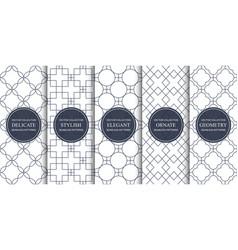 set ornamental seamless geometric patterns vector image