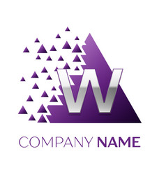 Silver letter w logo in the purple pixel triangle vector