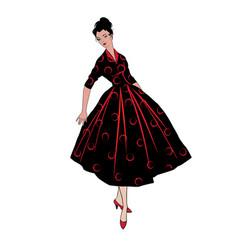Stylish fashion dressed girls 1950s 1960s style vector