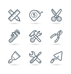 tools construction trendy icon set eps 10 vector image