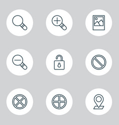 Web icons set collection of zoom out research vector