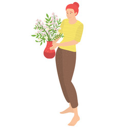 woman carrying houseplant vase with flowers vector image
