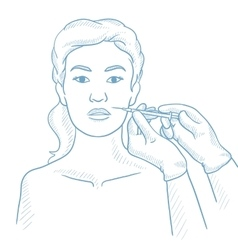 Woman receiving beauty facial injections in salon vector