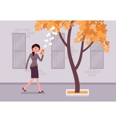 Woman walks with smartphone to bump into a tree vector