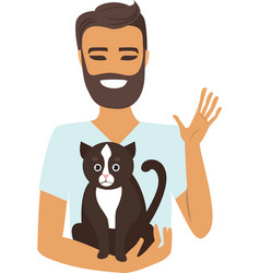 young man with cat vector image