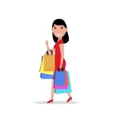 cartoon happy woman shopping bags vector image