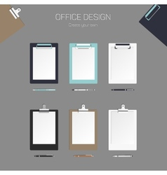 clipboard with paper and pen set for vector image vector image