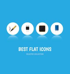 Flat icon appliance set of cpu transistor repair vector