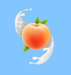 peach in milk splash realistic fruit in yogurt vector image vector image
