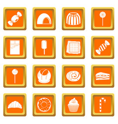 sweets and candies icons set orange vector image