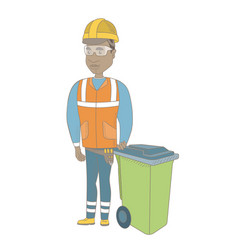 young african-american builder pushing recycle bin vector image vector image