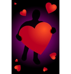 Black silhouette with heart in hand vector