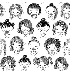 Cute girls seamless pattern for your design vector image vector image