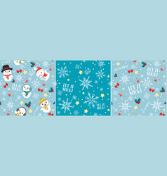 let it snow christmas seamless pattern set vector image vector image