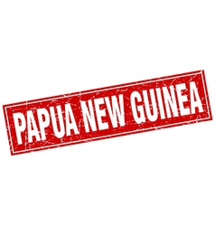 Papua new guinea red square grunge vintage vector