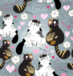 bright pattern with enamored cats vector image