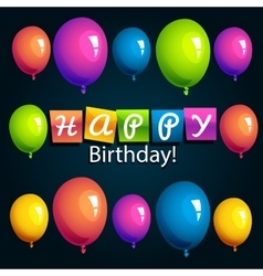 Colorful Happy Birthday Greeting Card vector image