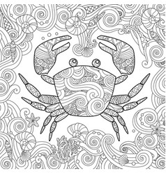 coloring page ornate crab isolated on white vector image vector image
