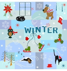 Funny winter background vector image vector image