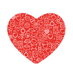 heart with icons for valentines day vector image