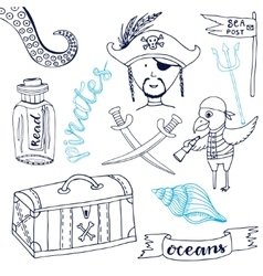Pirate set with cute parrot Hand drawn cartoon vector image